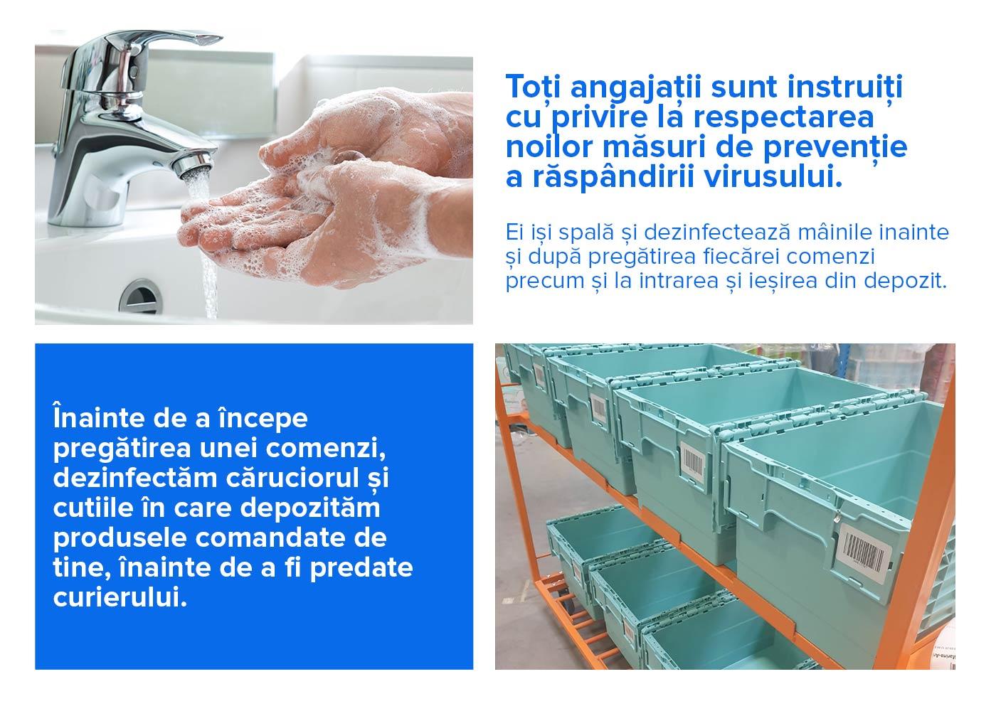 Toți angajatii sunt instruiți  cu privire la respectarea  noilor măsuri de prevenție  a răspândirii virusului.   Ei iși spală și dezinfectează mâinile inainte și după pregătirea fiecarei comenzi precum și la intrarea și iesirea din depozit.
