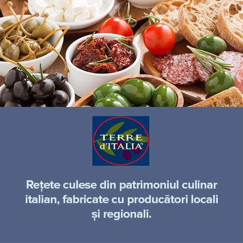 Rețete culese din patrimonial culinar italian                     Fabricate cu producători locali și regionali