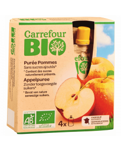 Piure de mere Bio Carrefour Bio 4x90g