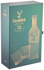 Pachet Whisky Glenfiddich 12 YO 40% vol., 0,7 l cu 2 pahare