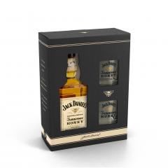 Pachet Jack Daniel's Honey 35% vol., 0,7 l cu 2 pahare