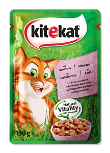 Hrana umeda completa pentru pisici adulte cu somon in sos suculent Kitekat 100g