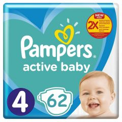 Scutece Pampers Active Baby Maxi Pack, Marime 4, 9-14 kg, 62 buc