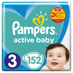 Scutece Pampers Active Baby Mega Pack, Marime 3, 6-10 kg, 152 buc