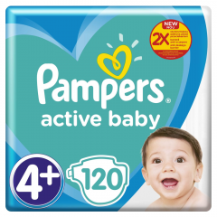 Scutece Pampers Active Baby Mega Pack, Marime 4+, 10-15 kg, 120 buc