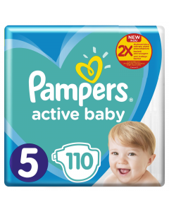 Scutece Pampers Active Baby Mega Pack, Marime 5, 11-16 kg, 110 buc