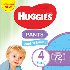 Scutece-chilotel Huggies Pants Baieti, Box (nr 4) 9-14kg, 72buc