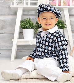 Costum botez elegant romburi 4 piese   80 cm (10-16 luni)  Bleumarin