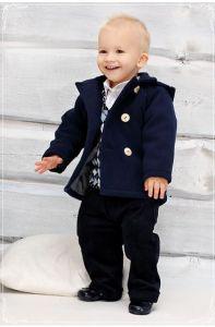 Costum botez baieti toamna iarna Granat   80 cm (10-16 luni)