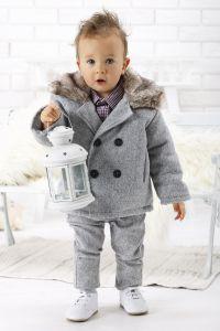 Costum botez baieti toamna iarna Club Junior Gri   74 cm (6-10 luni)