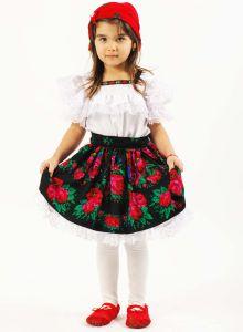 Costum popular fete maramures negru   110 cm (3-4 ani)  Fara batic