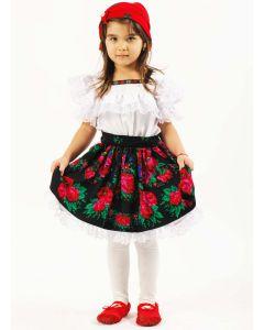 Costum popular fete maramures negru   120 cm (5-6 ani)  Fara batic