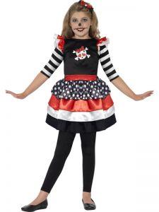 Costum Halloween schelete fete    120 cm (5-6 ani)