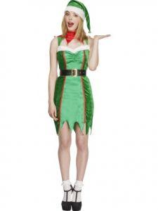 Costum elf zglobiu cu caciula si centura   L
