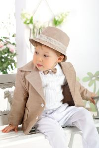 Costum botez sau ocazie baieti Jazz Cappucino   62 cm (2-4 luni)