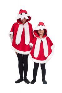 Costum poncho Mos Craciun copii   110 cm (3-4 ani)
