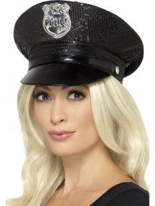 Palarie politist dama cu paiete