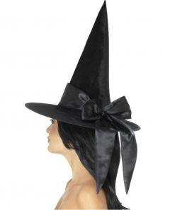 Palarie vrajitoare halloween de lux cu funda neagra