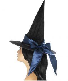 Palarie vrajitoare halloween de lux cu funda albastra