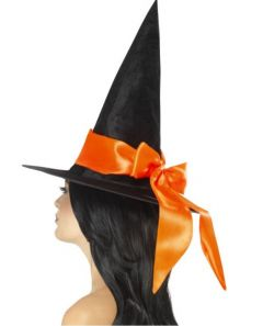 Palarie vrajitoare halloween de lux cu funda portocalie