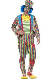 Costum halloween clown horror cu palarie adulti   M