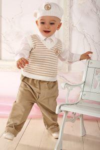 Costum ocazie baieti crem cu vesta 4 piese   62 cm (2-4 luni)