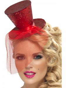 Mini palarie cu voaleta glitter rosie