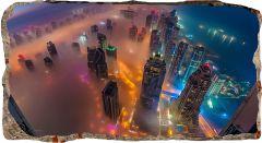 Fototapet 3D Startonight Zgarie nori vazuti de sus, luminos in intuneric, 2.20 x 1.20 m
