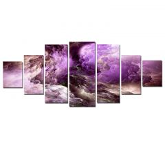 Set Tablou DualView Startonight Violet abstract, 7 piese, luminos in intuneric, 100 x 240 cm