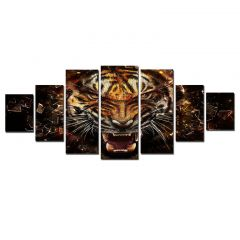 Set Tablou DualView Startonight Tigru puternic, 7 piese, luminos in intuneric, 100 x 240 cm