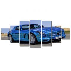 Set Tablou DualView Startonight Masina sport albastra, 7 piese, luminos in intuneric, 100 x 240 cm