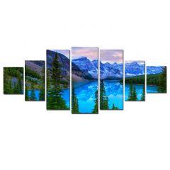 Set Tablou DualView Startonight Peisaj albastru de munte, 7 piese, luminos in intuneric, 100 x 240 cm