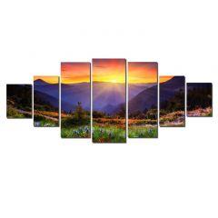 Set Tablou DualView Startonight Apusul de dupa munti, 7 piese, luminos in intuneric, 100 x 240 cm