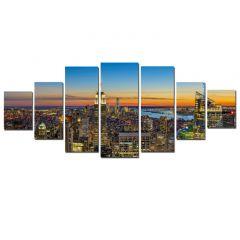 Set Tablou DualView Startonight Apus in oras, 7 piese, luminos in intuneric, 100 x 240 cm