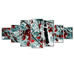 Set Tablou DualView Startonight Frunze rosii in zapada, 7 piese, luminos in intuneric, 100 x 240 cm