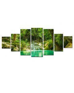 Set Tablou DualView Startonight Frumusetea padurii, 7 piese, luminos in intuneric, 100 x 240 cm (1 piesa 40 x 100 cm, 2 piese 35 x 90 cm, 2 piese 30 x 60 cm, 2 piese 30 x 40 cm)
