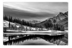 Tablou Alb-Negru Abstract Startonight, Peisaj canadian, luminos in intuneric, 60 x 90 cm