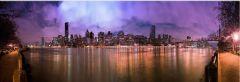 Tablou DualView Startonight Manhattan noaptea, luminos in intuneric, 40 x 120 cm