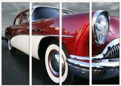 Set tablou DualView Startonight Masina retro, luminos in intuneric, 90 x 120 cm (4 piese 30 x 90 cm)
