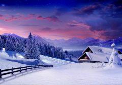 Fototapet Startonight Peisaj de iarna, luminos in intuneric, 3.66 x 2.56 m
