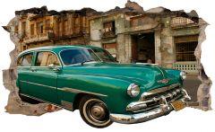 Fototapet 3D Startonight Masina verde in Havana, luminos in intuneric, 2.20 x 1.20 m