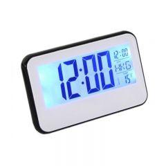 Ceas Digital 2618, cu display LCD si control vocal, functie termometru, Alb-Negru