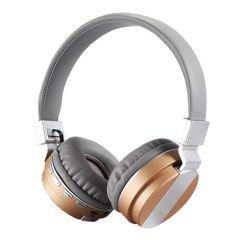 Casti Bluetooth FE-018 cu microfon, Over The Ear, Radio FM, Auriu