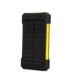 Acumulator Extern 10000 mAh, cu Incarcare Solara, 2 USB, Lanterna LED cu Mod SOS, Negru-Galben