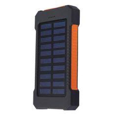 Acumulator Extern 10000 mAh, cu Incarcare Solara, 2 USB, Lanterna LED cu Mod SOS, Negru-Portocaliu