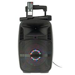 Boxa Activa Portabila Tip Troller Soundvox W-09, Radio FM, Bluetooth, USB, TF Card, Aux, Lumini LED, Microfon Inclus, Telecomanda, Neagra