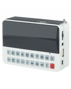 Radio Ceas Digital cu Alarma Happy Sheep CR-562, Cutie Muzicala, USB, Card TF, Slot Casti, Lanterna, Taste iluminate, Argintiu