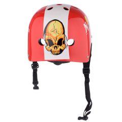 Casca Protectie Sport, pentru Tineret si Adulti, Sistem reglabil, Curele Barbie, Guri de Aerisire, 57-62 cm, cu Model, Rosu-Alb