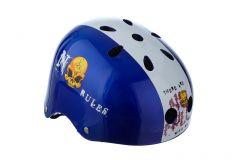 Casca Protectie Sport, pentru Tineret si Adulti, Sistem reglabil, Curele Barbie, Guri de Aerisire, 57-62 cm, cu Model, Albastru-Alb