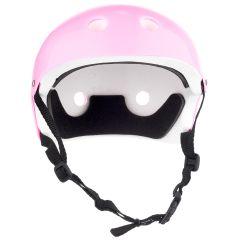 Casca Protectie Sport Copii, Curele Barbie, Guri de Aerisire, S ( 52-57 cm), Roz pal